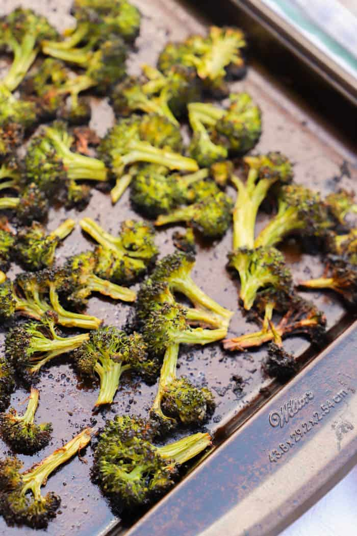 Lemon Garlic Roasted Broccoli on a sheet