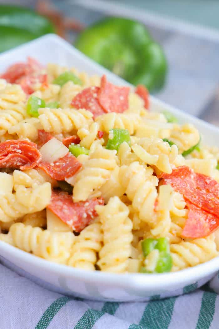Pizza Pasta Salad in a white bowl