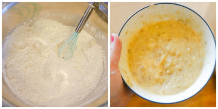 collage of mixed flour and mashed banana