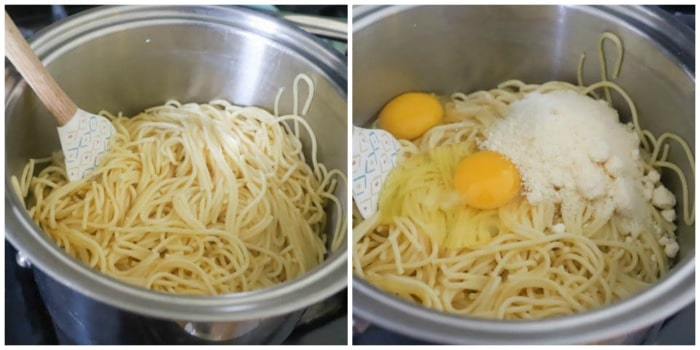 spaghetti with egg and cheese being mixed in.