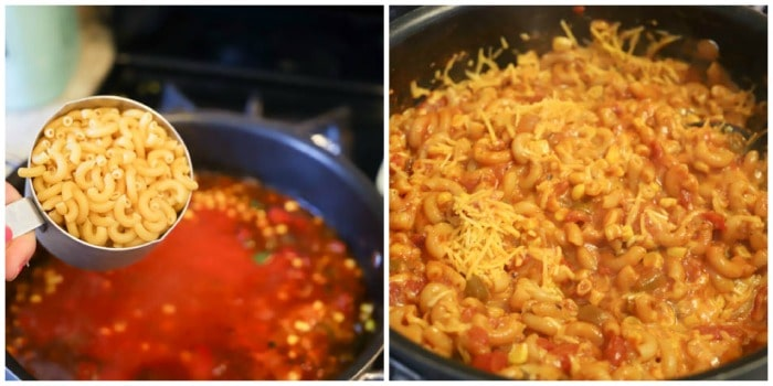 adding pasta to the One Pot American Goulash