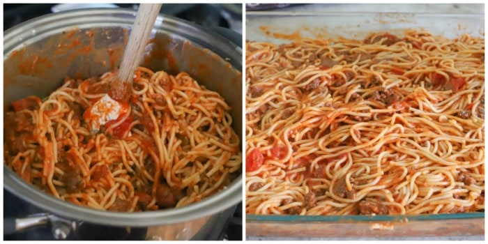 spaghetti with sauce and meat mixed in