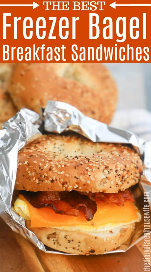 Freezer Bagel Breakfast Sandwiches with text on image