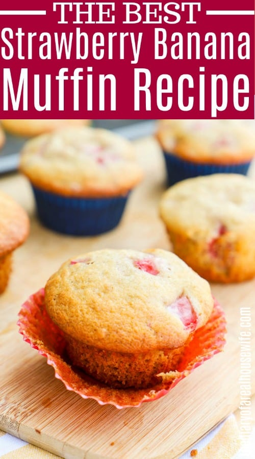 Strawberry Banana Muffins with text of title