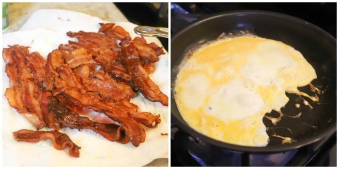collage of making bagels with cooked bacon and eggs cooking