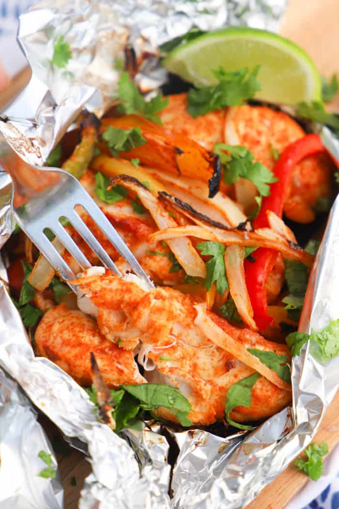 Grilled Chicken Fajitas with fork
