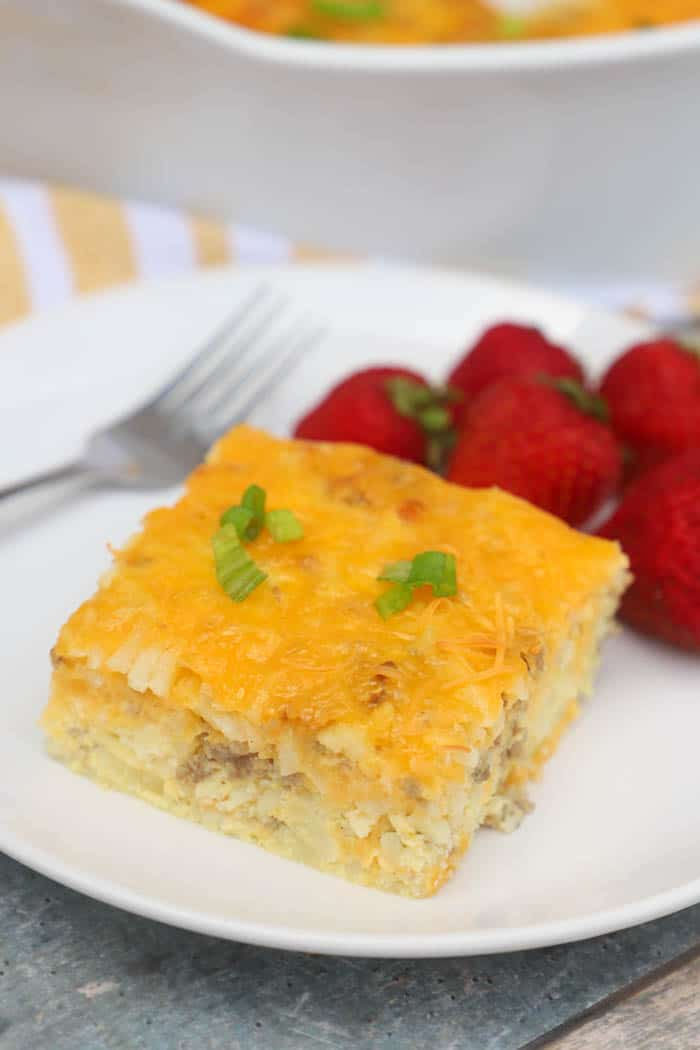 Cheesy Potato Breakfast Casserole on a white plate