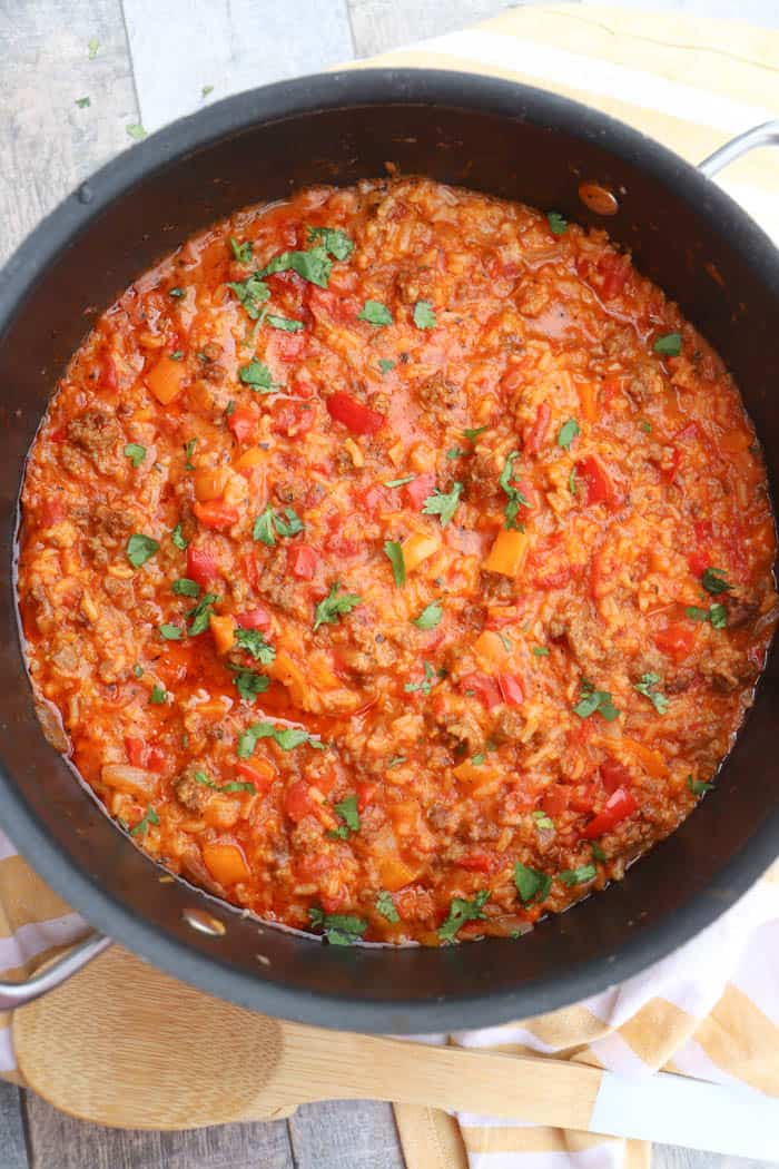One Pot Stuffed Pepper Casserole in a large pot