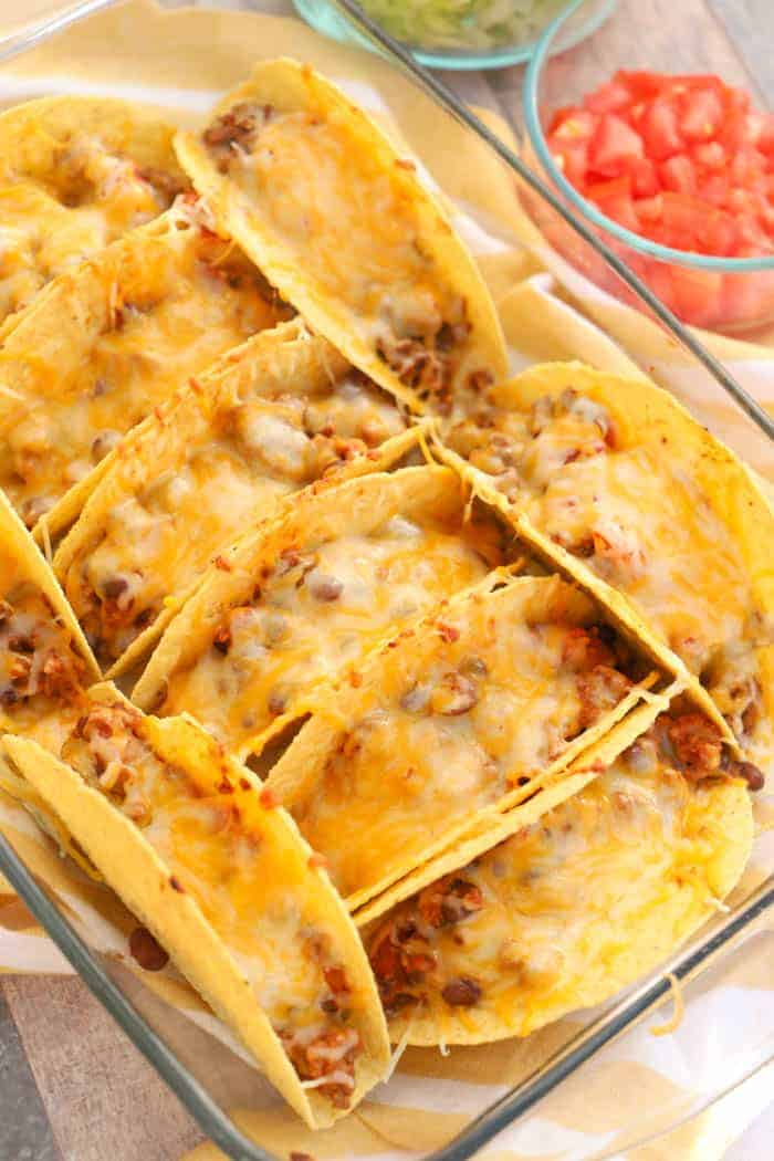 Oven Baked Beef Tacos in a casserole dish