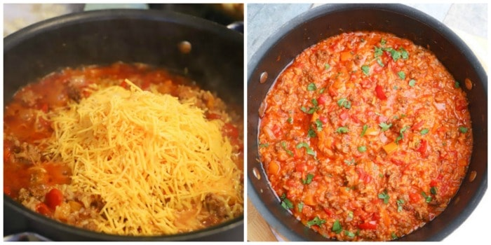 adding cheese to the One Pot Stuffed Pepper Casserole
