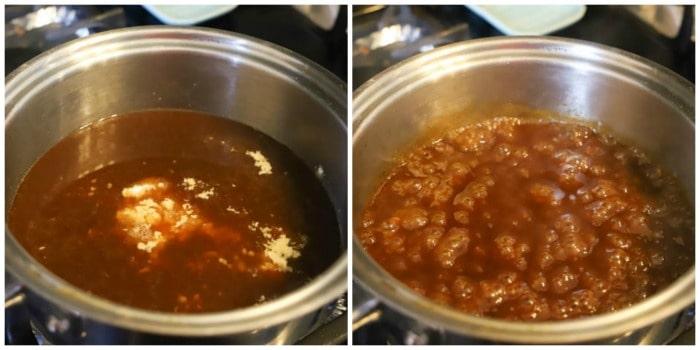 Making sauce on the stove top in a silver pan