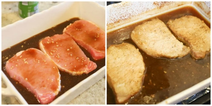 pork chops with sauce in a dish. cooked and uncooked.