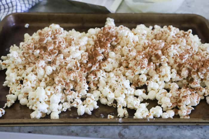 Pumpkin Spice Popcorn adding seasoning