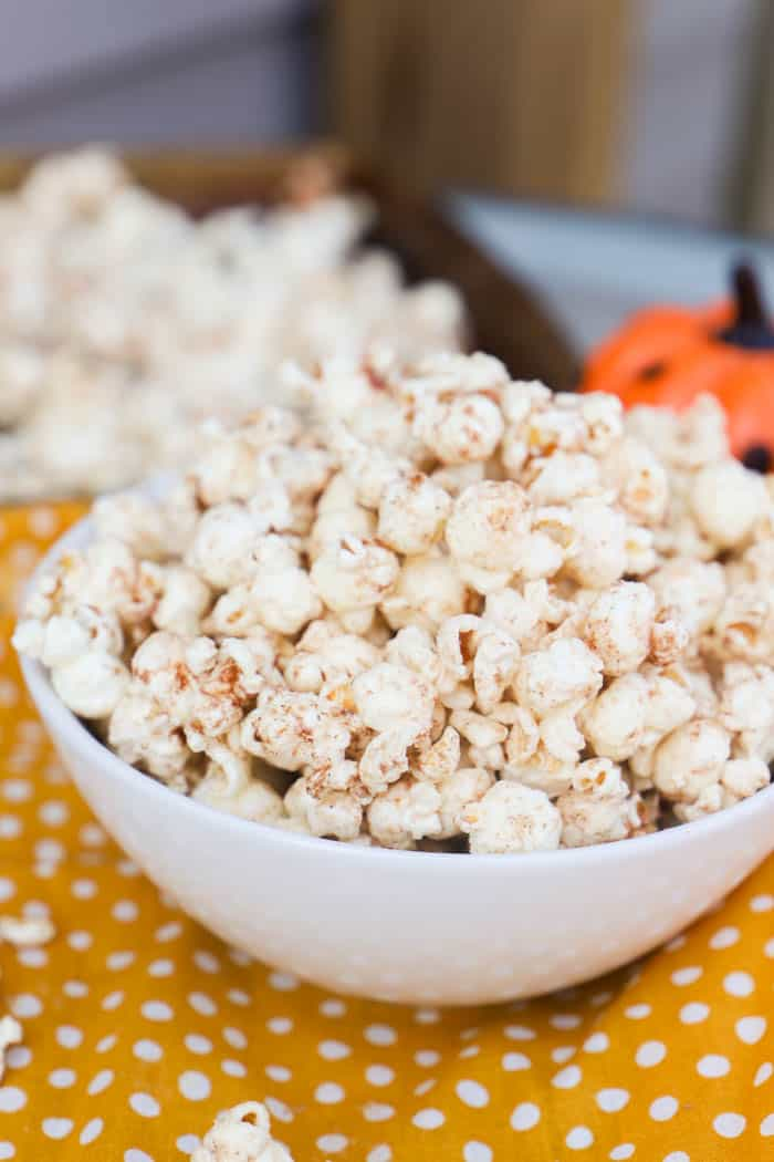 Pumpkin Spice Popcorn in a white bowl
