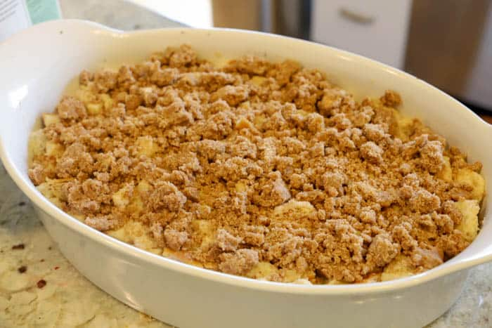 Apple Cinnamon French Toast Casserole in a white casserole dish
