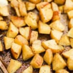 Lemon Herb Roasted Potatoes on a pan
