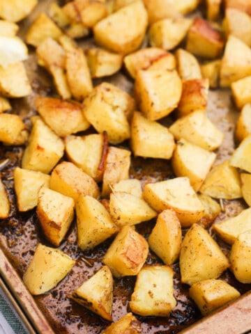 Lemon Herb Roasted Potatoes on a pan