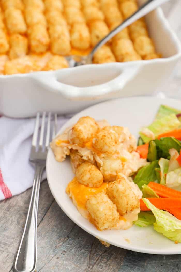 Buffalo Chicken Tater Tot Casserole on a white plate