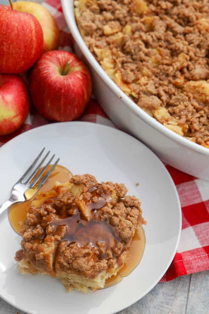 Breakfast recipe Apple Cinnamon French Toast Casserole on plate