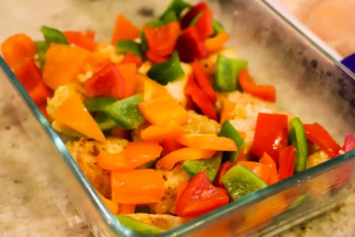 Sweet and Sour Chicken in a casserole dish before cooking