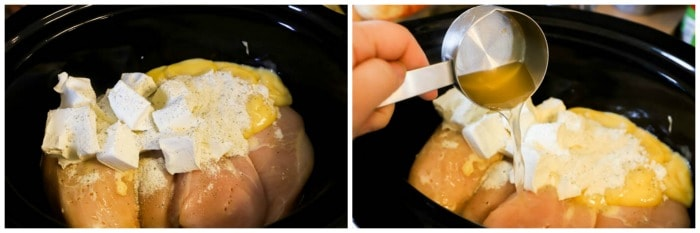 adding chicken to the slow cooker with other ingredients