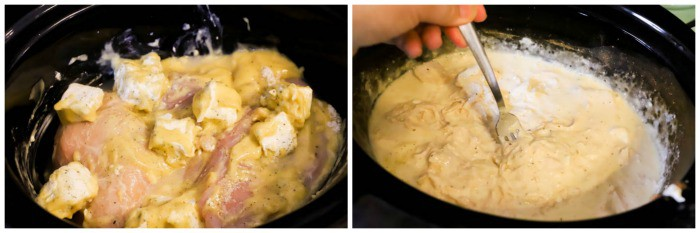mixing and cooking Slow Cooker Ranch Chicken in the slow cooker
