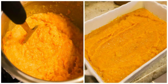 cooked sweet potatoes and mashed