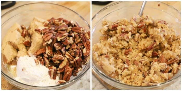 making Sweet Potato Casserole topping