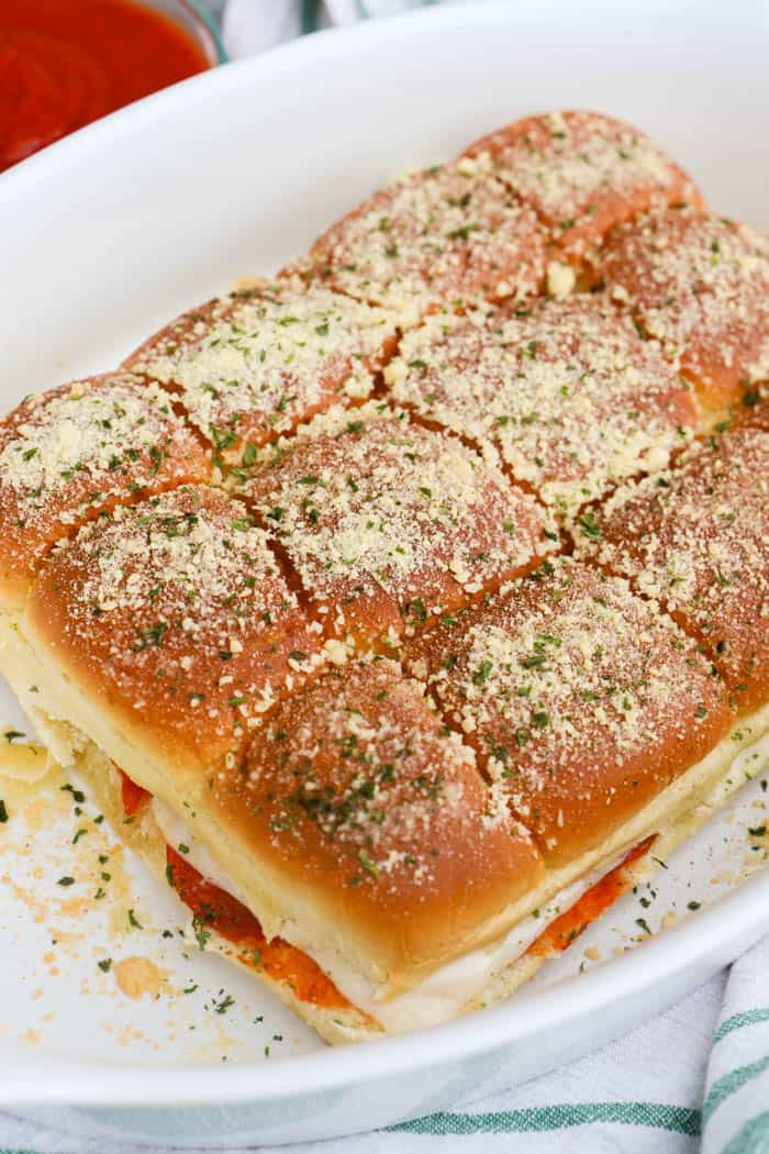 Pizza Sliders in a casserole dish