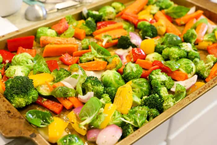Roasted Vegetables on a baking sheet ready to cook
