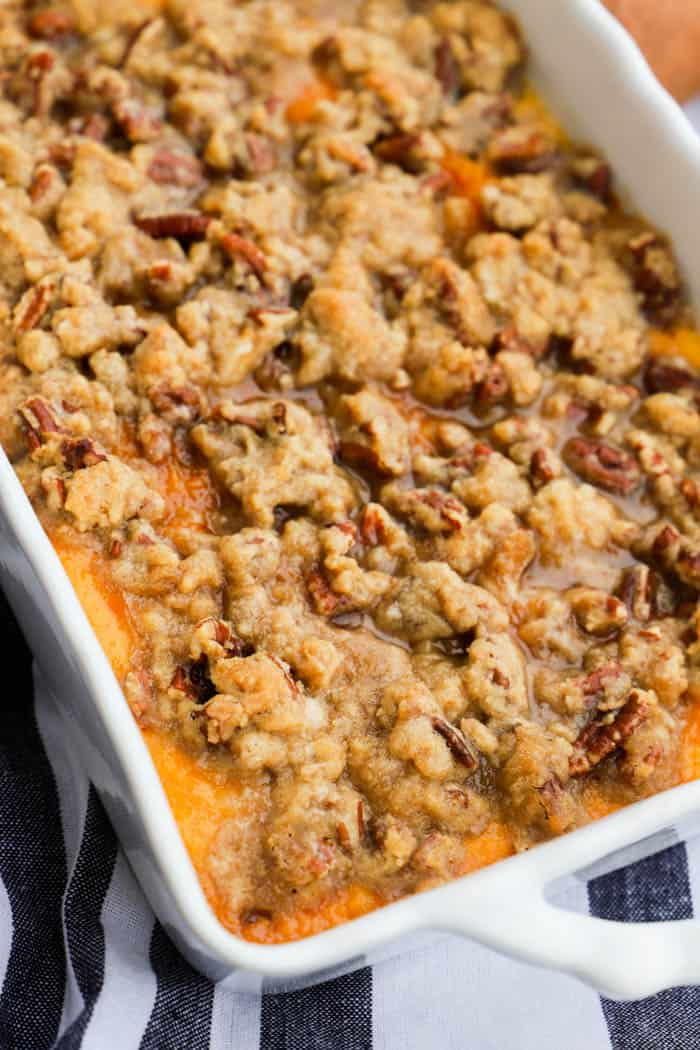 Sweet Potato Casserole in a casserole dish