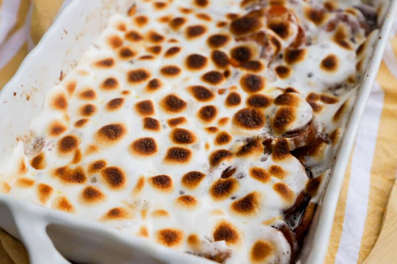 Candied Yams topped with marshmallows