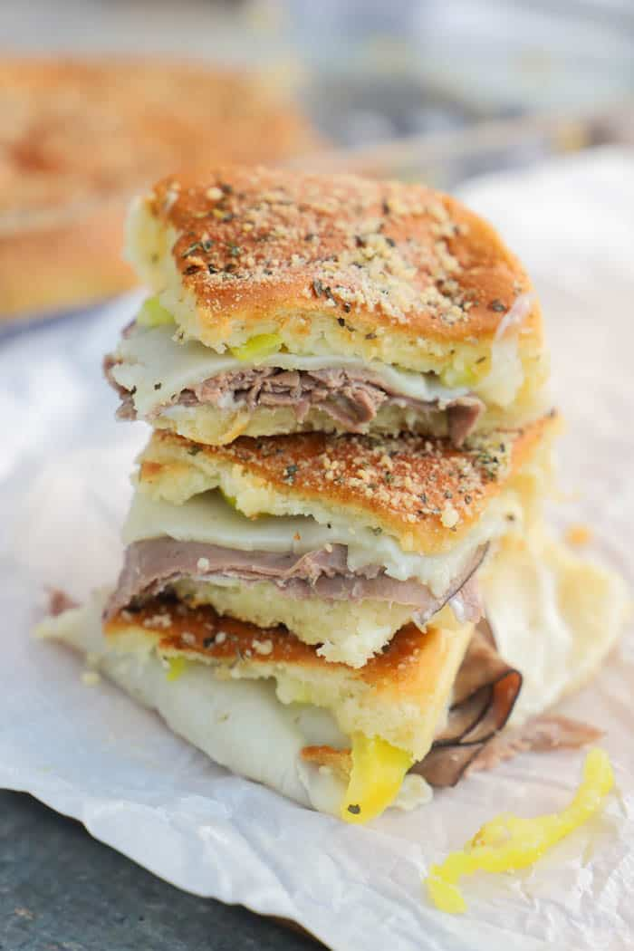 Roast Beef Italian Sliders stacked
