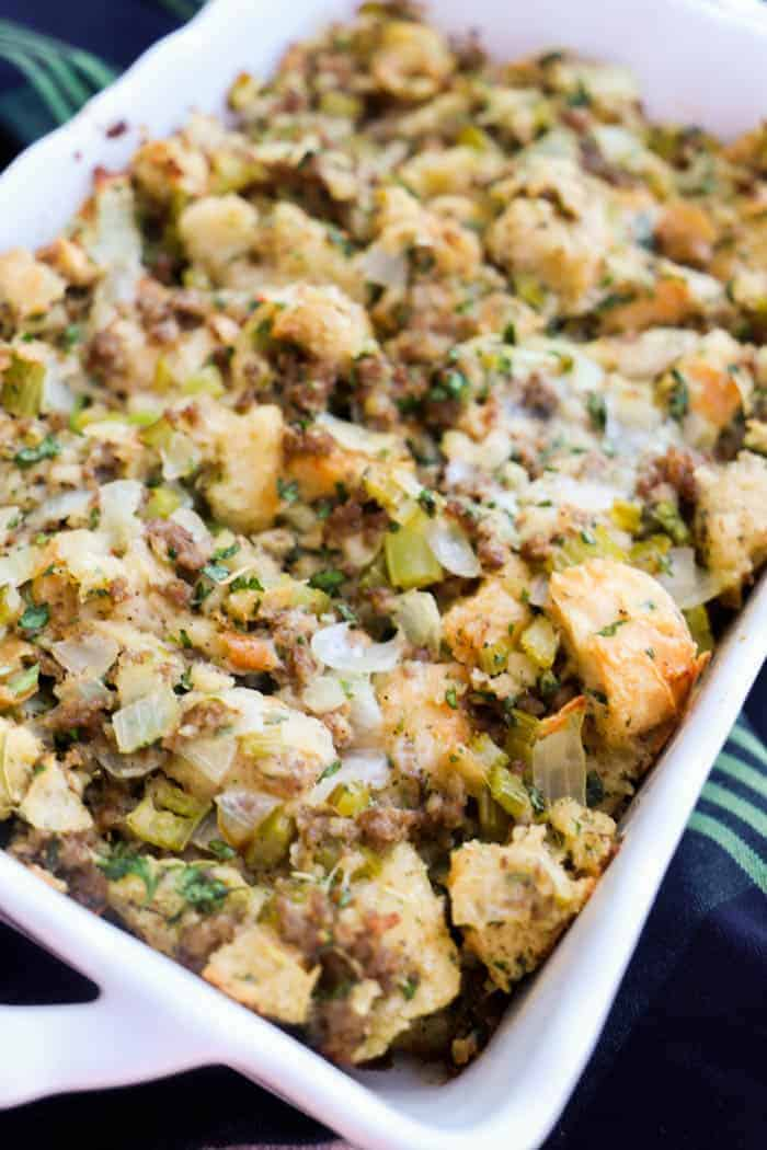 Sausage & Herb Stuffing in a white casserole dish