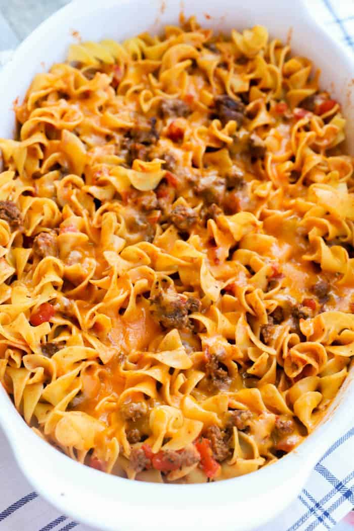 Beef and Noodle Casserole in a white casserole dish