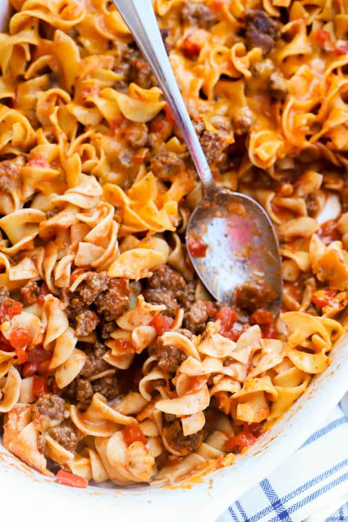 Beef and Noodle Casserole on a spoon