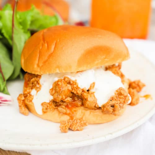 Buffalo Chicken Sloppy Joes on a plate with salad