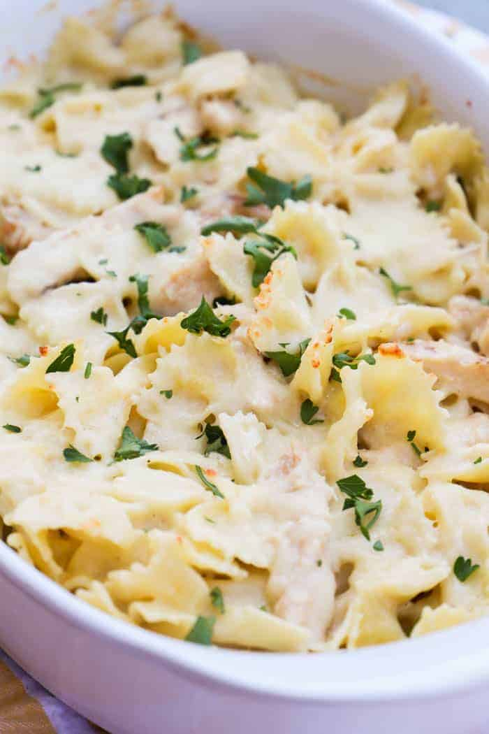 Chicken Alfredo Casserole in a white casserole dish
