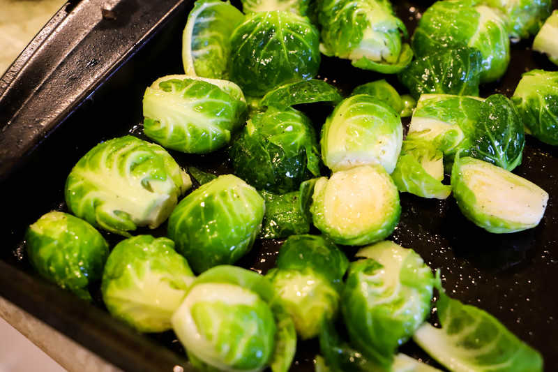 Parmesan Roasted Brussel Sprouts on a baking sheet