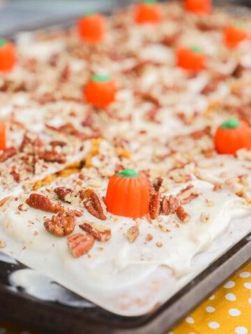 Pumpkin Sheet Cake in a sheet pan