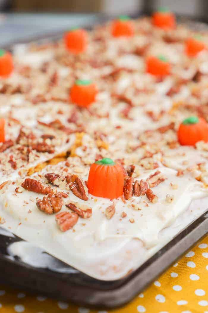Pumpkin Sheet Cake in a sheet pan