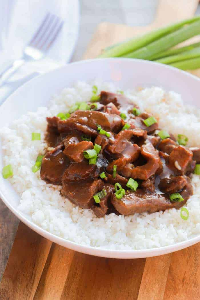 Slow Cooker Mongolian Beef with green onions