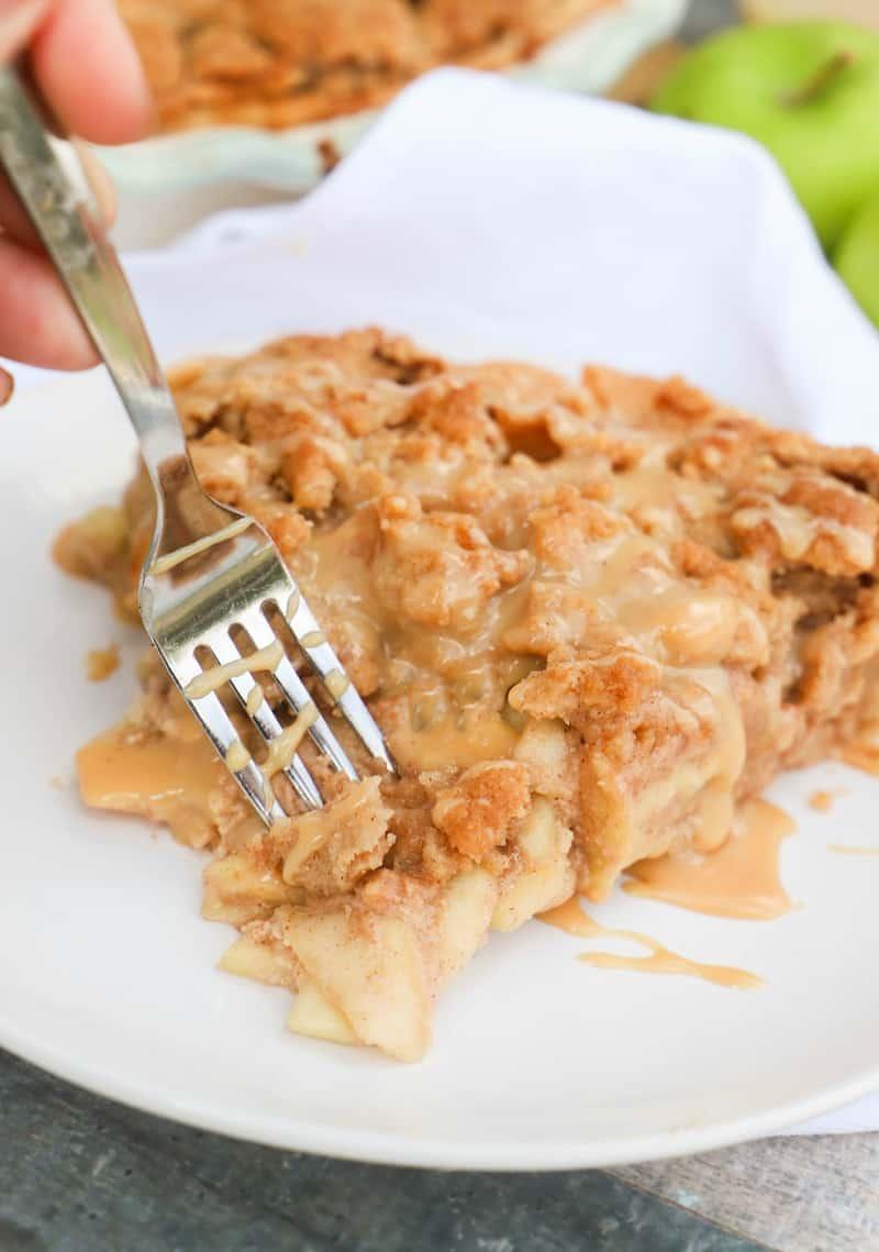Caramel Dutch Apple Pie with a fork