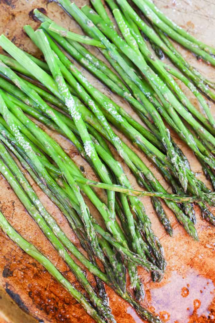 roasted asparagus out of the oven