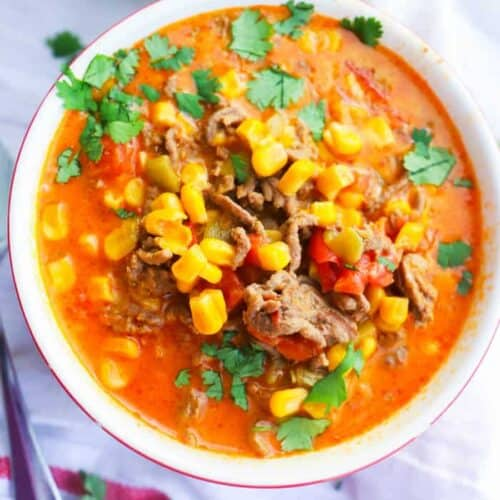 Beef Nacho Soup in a bowl topped with cilantro