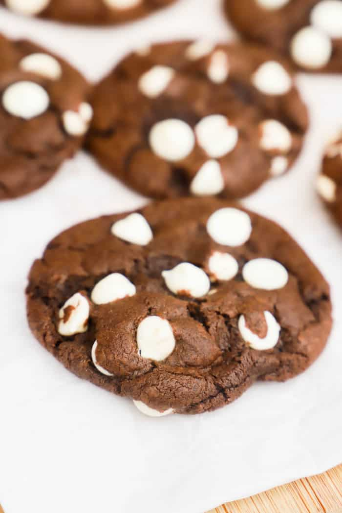 Chocolate White Chocolate Chip Cookies on parchment paper