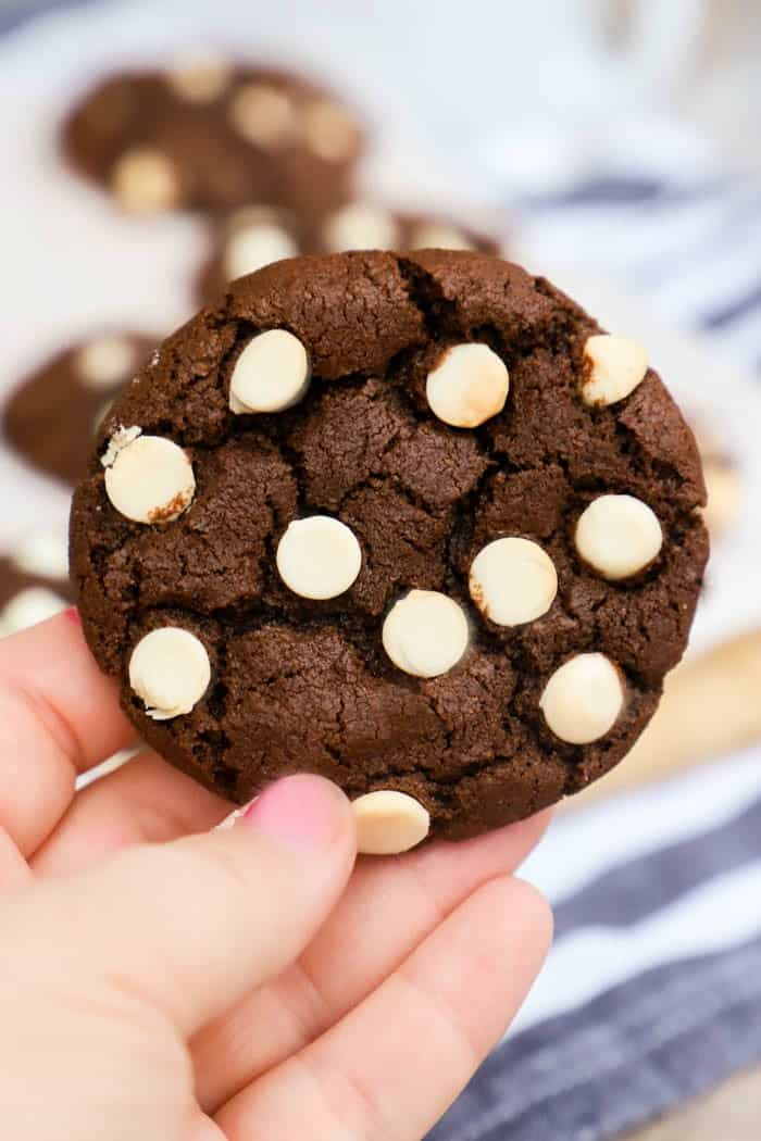 Chocolate White Chocolate Chip Cookies in a hand