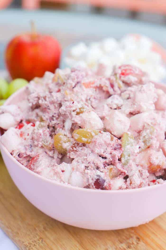 Cranberry Fluff in a pink bowl