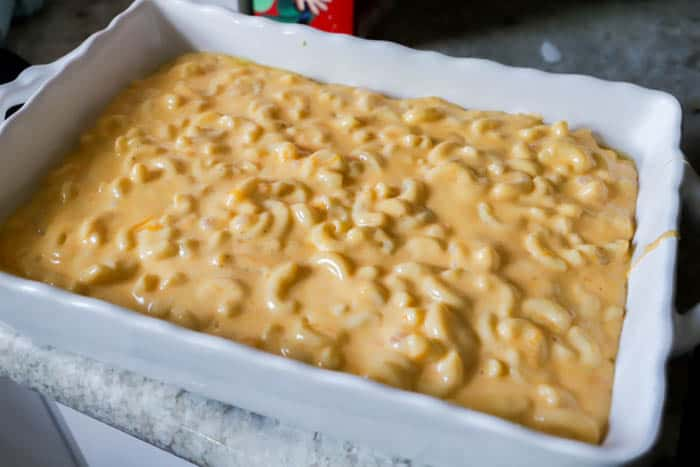 Creamy Mac and Cheese Casserole in a casserole dish before toppings
