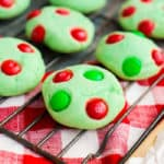 Grinch Cookies on a cooling rack